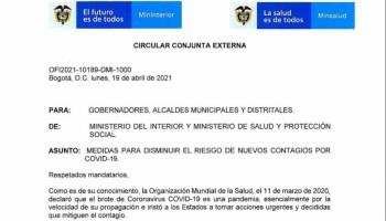Circular de medidas para disminuir el riesgo de nuevos contagios por COVID - 19
