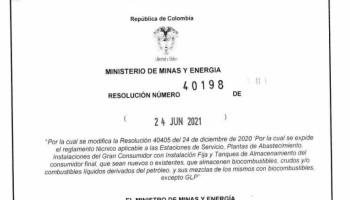 Resolución número 40198 - Ministerio de Minas y Energía