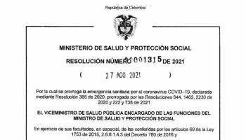 Prorroga emergencia sanitaria por el coronavirus COVID 19 - Resolución 1315